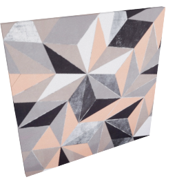 Cubes & Triangles Canvas Print 80X3X80 Cm-Multicolor