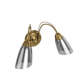 Mizar Wall Light, 2 Arm, Antiqued Brass