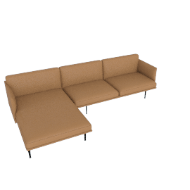 Outline Sectional with Left Facing Chaise, Prescott Leather - Saddle