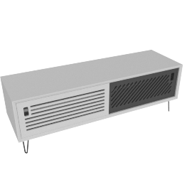 Pointillee media unit, white and grey