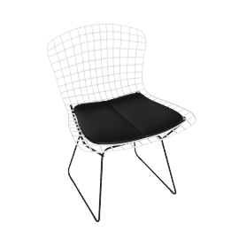 Bertoia Two-Tone Side Chair with Seat Pad, Basket: White Frame: Black Seat Pad: Black
