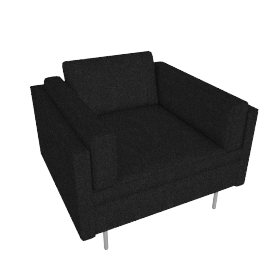 Bolster Club Chair, Capri Graphite with Brushed Stainless leg