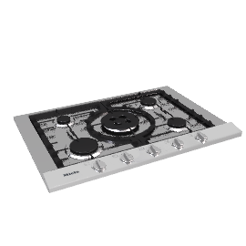 Miele KM2034 Gas Hob, Stainless Steel