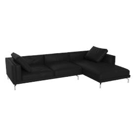 Como Sectional Right Chaise, Kalahari Leather - Black