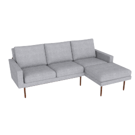 Raleigh Sectional Chaise, Frame -Walnut, Fabric -Pebble Weave: Fog