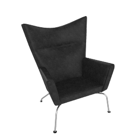 Wing Chair - Leather (Thor) - Black