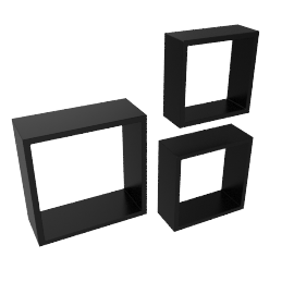 Cairo Set of 3 Wall Cube, Black