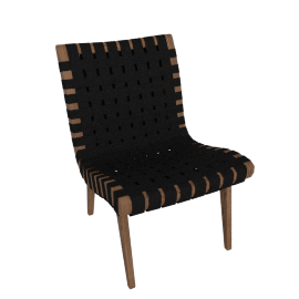 Risom Lounge Chair, Walnut Frame Black Webbing