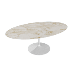 Saarinen Oval Dining Table 78'', Natural Marble - Wht.CalacGold