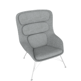 Striad Chair, High Back with Wire base, Noble Heathered Grey/White Shell with Chrome base