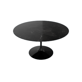 Saarinen Round Dining Table 54'', Natural Granite - Blk.BlackAndes
