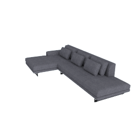 Lecco Open Sectional with Chaise, Pebble Weave - Pumice with Black Base