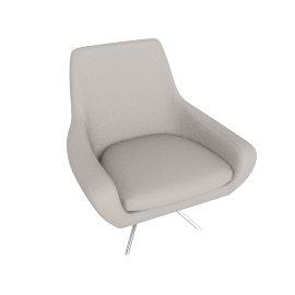 Noomi Swivel Chair , Grey Leather