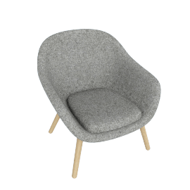 About A Lounge 82 Armchair, Low Back, Divina Melange 120 Light Grey / Oak