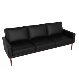 Raleigh Sofa, Walnut Frame, Black Kalahari Leather