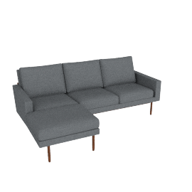 Raleigh Sectional with Left Chaise, Walnut, Boucle Granite