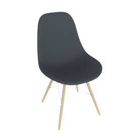 Eames Molded Plastic Dowel-Leg Side Chair (DSW), Charcoal Shell, Chrome Base, White Ash Legs