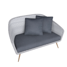Rattatan 2 seater sofa , Grey