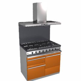 Westahl WG1053GECTMDAPK1 Dual Fuel Cooker, Hood and Splashback Package, Mandarin