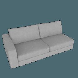 Reid One-Arm Sofa Left, Ducale Wool - Light Grey