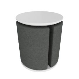 Textured Banner Stool with Pouf, Multicolour