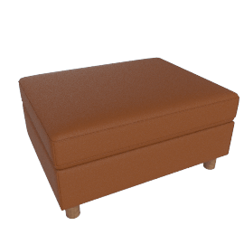 Lispenard Ottoman, Kalahari Leather - Canyon with Walnut Leg
