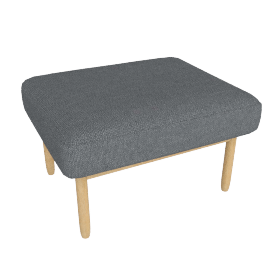 Raleigh Ottoman , Frame -Oak, Fabric -Boucle: Granite