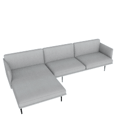 Outline Sectional with Left Facing Chaise, Soft Weave Smoke