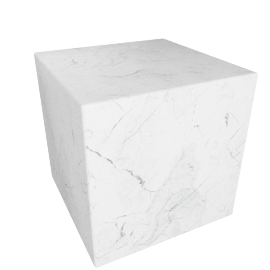 Plinth Cube Side Table, Carrara