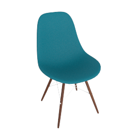 Eames Molded Plastic Dowel-Leg Side Chair (DSW), Peacock Blue with Chrome Base and Walnut Leg