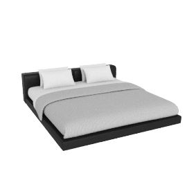 Softwall King Bed in Leather, Leather Black