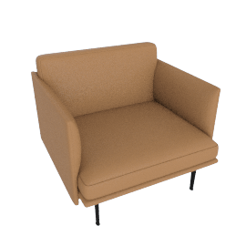 Outline Armchair, Prescott Leather - Saddle