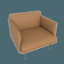 Outline Armchair, Prescott Leather - Saddle