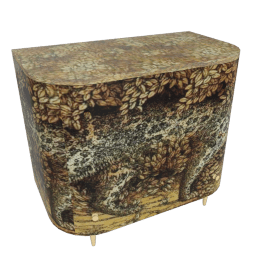 leopard, curved chest of drawers by fornasetti