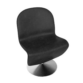 System 1 2 3 Dining Chair by Verpan in Leather - Black