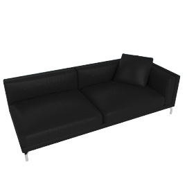 Como One-Arm Sofa in Leather, Right, Black