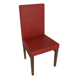 Clara Leather Dining Chair, Red Fabric