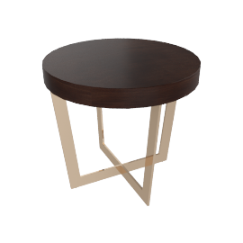 Belle End Table, Dark Cherry / Gold