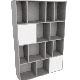 Stretto large shelving unit, grey