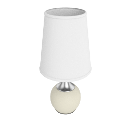Lumen Metal Touch Table Lamp 58Cm H - White/Silver - 3Pin
