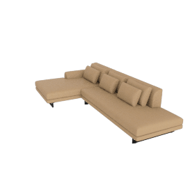 Lecco Open Sectional with Chaise, Kalahari Leather - Sand with Black Base