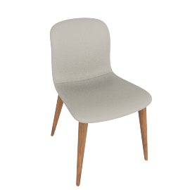 Bacco Chair, Grey Leather w Walnut Leg