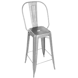Tolix® Marais Barstool with High Back, grey
