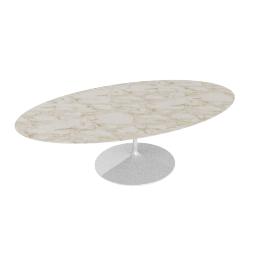 Saarinen Oval Dining Table 96'', Calacatta - Wht.Calacatta