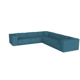 Kelston Corner Sectional Left-Facing, Linen Weave Fin