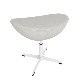 Egg Footstool in Basel Fabric, white