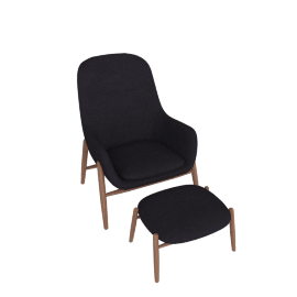 Nora Lounge Chair and Ottoman, Pecora - Dark Navy with Walnut