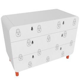 Matryoshka chest of drawers, white and orange