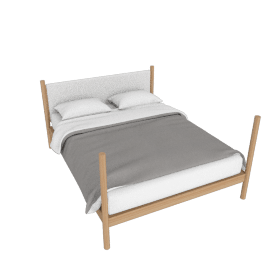 Brassline Bed, Queen Bed, Oak