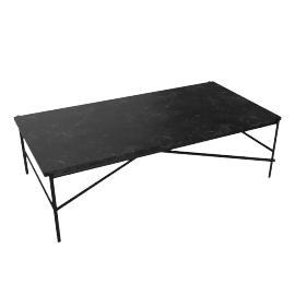 Outline Rectangular Coffee Table, Black Base Nero Marquina Top